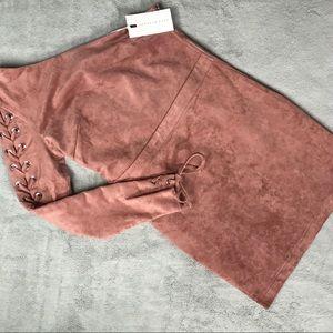 NWT Endless Rose Pink 1-Shoulder Vegan Suede Dress